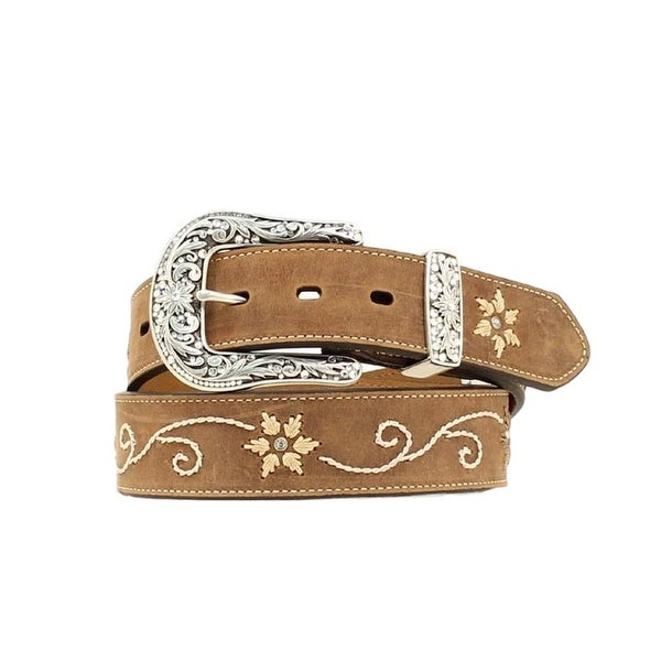 Nocona Western Belt Womens Embroidered Flowers Coffee Cream