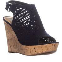 AR35 Charlize Wedge Peep Toe Sandals, Navy Cork