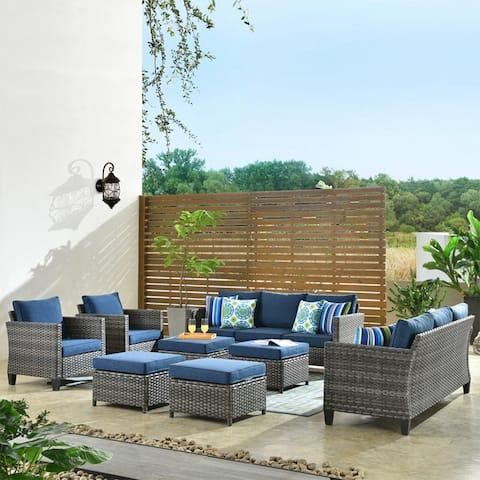 OVIOS 8 pieces Patio Furniture Outdoor High Back Wicker Patio Furniture Set