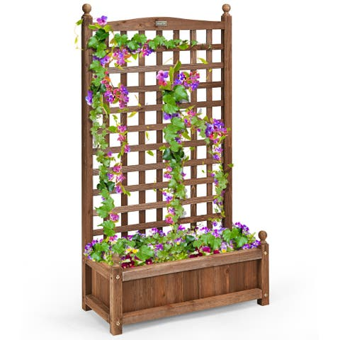 Costway Solid Wood Planter Box with Trellis Weather-Resistant Outdoor - 25'' (L) X 11'' (W) X 48'' (H)