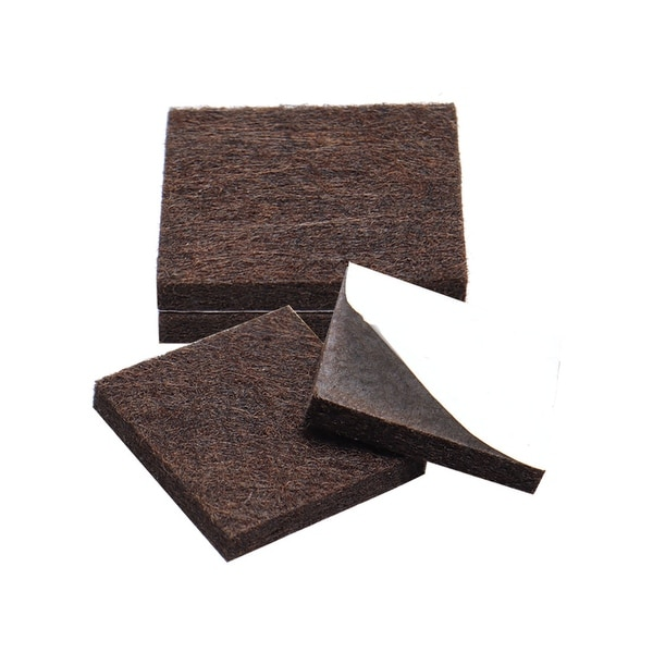 "4pcs Furniture Pads Square 1 5/8"" Self-stick Anti-scratch Felt Pads Reduce Noise for Chair Feet Floor Protector Brown"