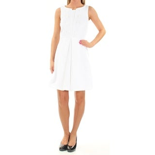 Womens White Sleeveless Above The Knee Fit + Flare Party Dress Size: XL