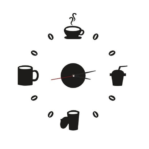 Unique Bargains Clock Design Coffee Mug Cup Wall Decals DIY Mirror Wall Sticker Home Decor