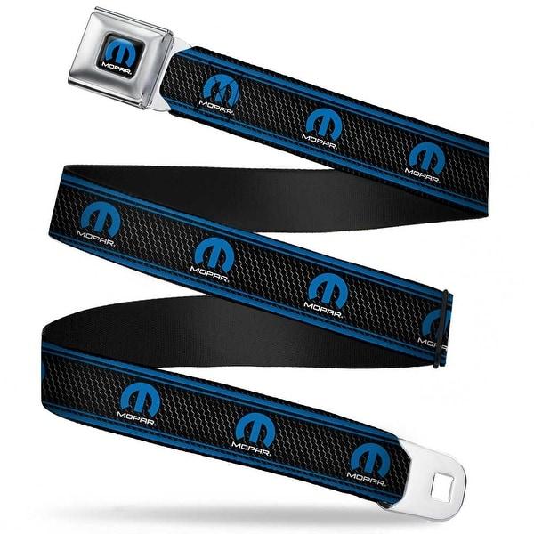 Mopar Logo Full Color Black Blue White Mopar Logo Stripe Grill Black Grays Seatbelt Belt