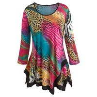 Women's Tunic Top - Jungle Animal Prints in Bright Colors