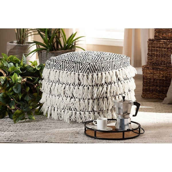 William Black and Ivory Handwoven Wool Tassel Pouf Ottoman