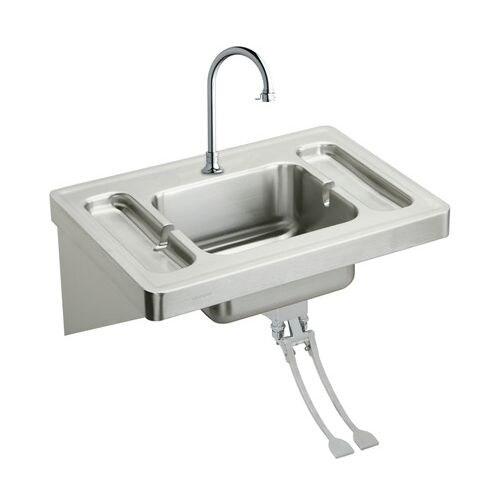Elkay ESLV2820FC Wall Mount 16 Gauge Stainless Steel Surgeons Bathroom Sink  With Spout, Foot Valve