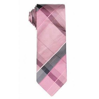 Kenneth Cole Reaction NEW Pink Gray Men's Camo Plaid Silk Neck Tie