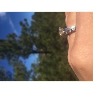 Annello by Kobelli 14k White Gold 1 1/5ct Radiant Moissanite (HI) Solitaire 4-prong Engagement Ring