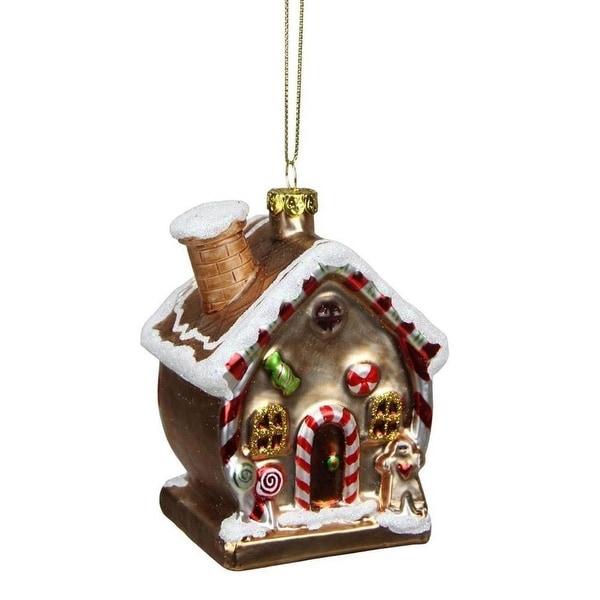 "3.75"" Gingerbread Kisses Glittered Glass House Decorative Christmas Ornament"