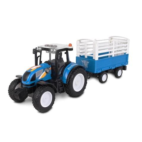 NKOK Big Ranch Farm Tractor w/ Hay Bale Wagon Toy
