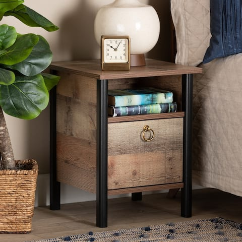 Vaughan Modern and Contemporary Two-Tone Rustic Oak Brown and Black Finished Wood Nightstand