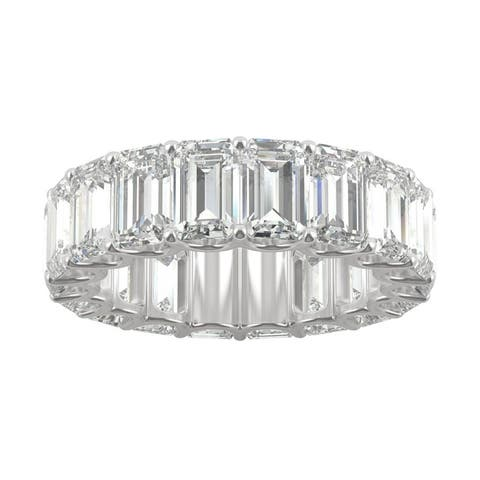 14k White Gold 10.44ct Moissanite Emerald Cut Eternity Band