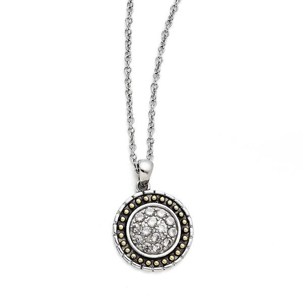 Chisel Stainless Steel CZ with Yellow IP-plated Antiqued Circle Necklace (1 mm) - 18 in