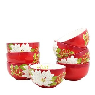 Laurie Gates 118370.01 8 Piece 5.5 in. Pleasant Poinsettia Bowl Set