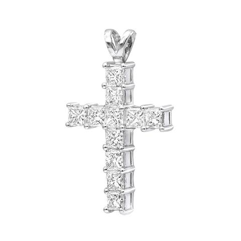Ladies Small Cross Diamond Pendant 1.5ctw in Platinum with Cable Chain by Luxurman