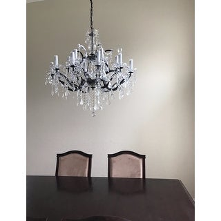 19th Rococo Iron & Crystal Chandelier Lighting H28 x W30
