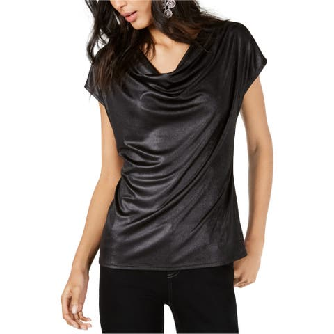 I-N-C Womens Cowl Pullover Blouse, black, Large