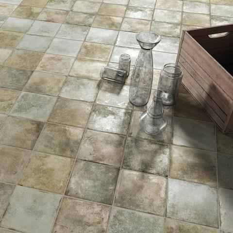 "SomerTile Kings Etna Encaustic 13.13"" x 13.13"" Sage Ceramic Floor and Wall Tile"