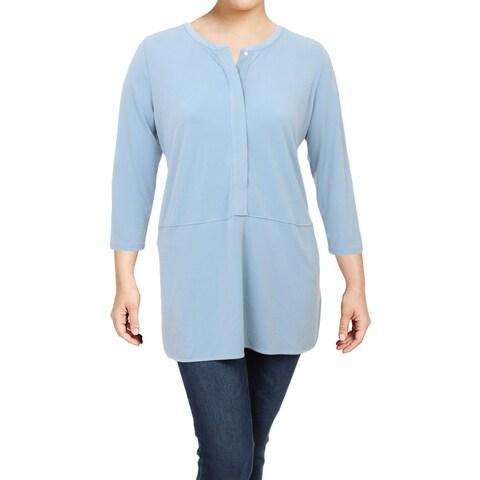 Lauren Ralph Lauren Womens Plus Tunic Top Button-Down 3/4 Sleeves
