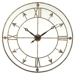 "36"" Distressed Brown Vintage-Inspired Open Roman Numeral Arrow Wall Clock"