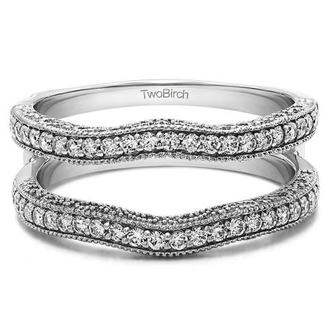 0.48 Ct. Contour Ring Guard with Millgrained with Cubic Zirconia Mounted in Sterling Silver (Size 6, 7 or 8)