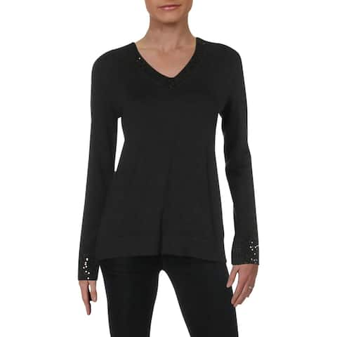 Donna Karan Womens Pullover Sweater Sequined V-Neck - XS