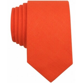 Bar III NEW Orange Carnaby Fifth Solid Skinny Neck Tie Cotton Accessory 275