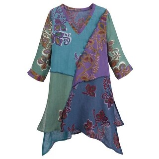Women's Tunic Top - Hand Dyed Linen Blue Green Floral Print Blouse