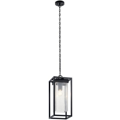 Kichler Mercer 24 inch 1 Light Outdoor Pendant with Clear Seeded Glass in Black Finish
