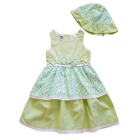 Light Green Check Bow Sleeveless Summer Dress Hat Set Little Girls