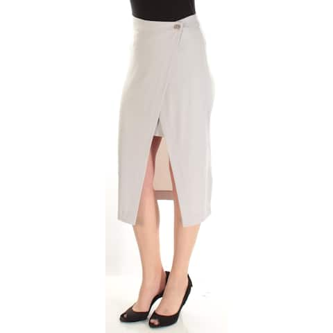 KIIND OF Womens Gray Below The Knee Wrap Skirt Size: M