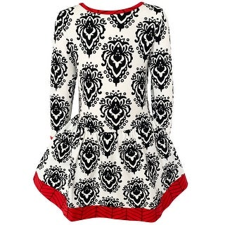 Link to AnnLoren Baby Big Girls Boutique Holiday Christmas Damask Soft Cotton Fall Winter Dress Similar Items in Girls' Clothing