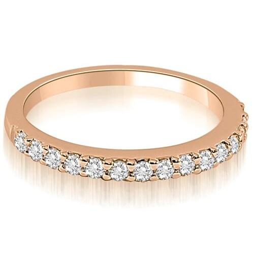 0.16 cttw. 14K Rose Gold Classic Round Cut Diamond Wedding Band
