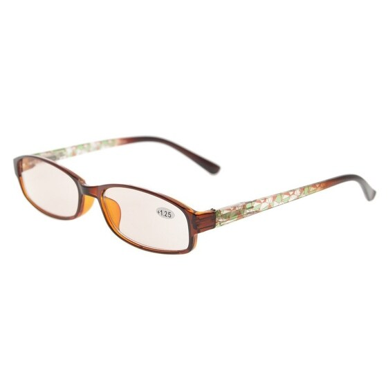 Eyekepper Anti Blue Light and Magnified iPad/tablet and Electronics Reading Glasses Amber Tinted(Green Pattern,+1.25)