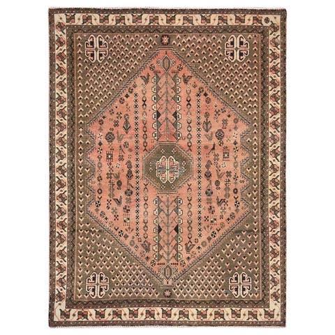 "Shahbanu Rugs Semi Antique Peach Color Persian Qashqai Distressed Natural Wool Bohemian Clean Hand Knotted Rug (5'0""x7'0"")"