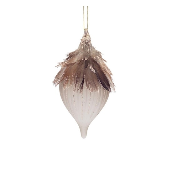 """6"""" Luxury Lodge Frosted Glass Onion Finial with Bronze Feathers Christmas Ornament"""