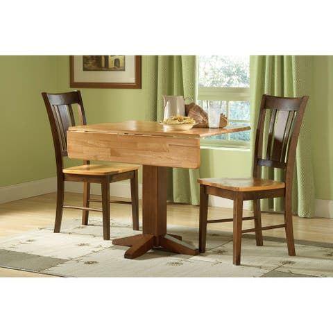 """Set of 3 pcs - 36"""" Square Dual Drop Leaf Table with 2 Chairs"""