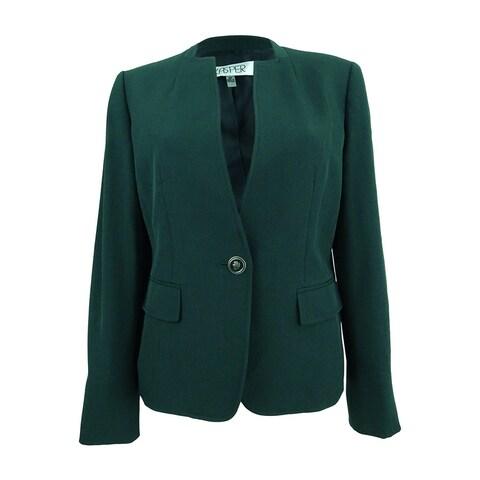Kasper Women's Petite Stretch Crepe One-Button Blazer (8P, Fir Green) - fir green - 8P