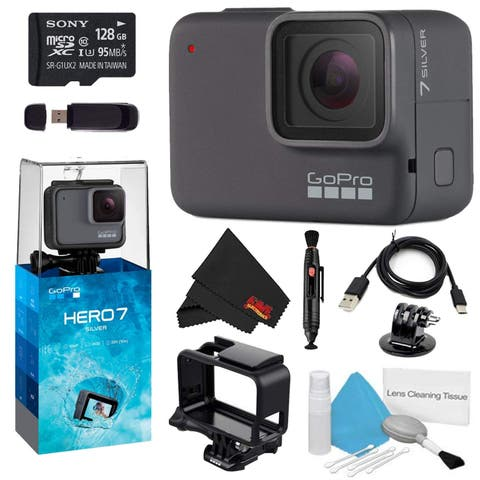 GoPro HERO7 Silver 128GB Bundle w/Cleaning Kit, Lens Pen Cleaner, and Memory Card Reader