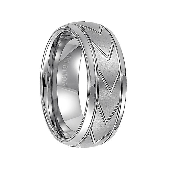 JED Domed White Tungsten Carbide Comfort Fit Band with Brush Finished Center and Chevron Pattern Cuts by Triton Rings - 8 mm
