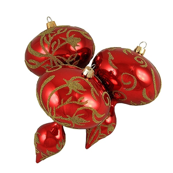 3ct Red and Gold Beaded Floral Shatterproof Christmas Finial Ornaments 5""