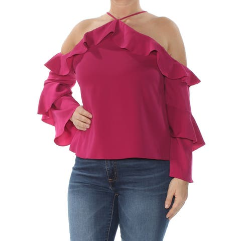 COOPER & ELLA Womens Purple Cold Shoulder Ruffled Long Sleeve Halter Party Top Size: L