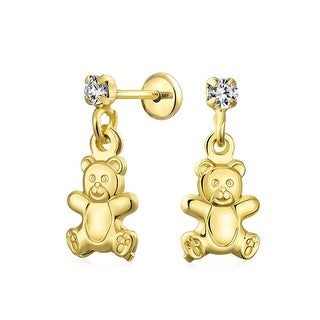 Bling Jewelry Gold Filled Teddy Bear Girls Safety Back Dangle Earrings