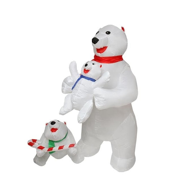 5 inflatable cute polar bear family lighted christmas outdoor decoration white