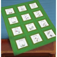 """Themed Stamped White Quilt Blocks 9""""X9"""" 12/Pkg-Creatures In Jars"""