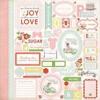 "Baby Mine Girl Cardstock Stickers 12""X12""-Element"