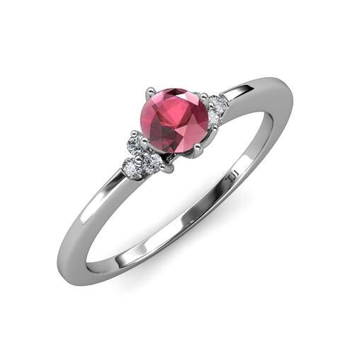TriJewels Rhodolite Garnet Diamond 1 1/4 ctw Engagement Ring 14K Gold