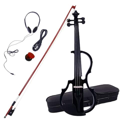 4/4 Electric Silent Violin Case Bow Rosin Headphone Connecting Line V-0