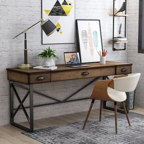 Furniture of America Leo Urban Oak 58-inch Lift-top Desk with USB Ports